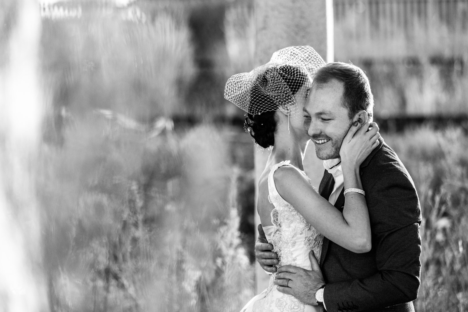Black and White Wedding Photography of couple