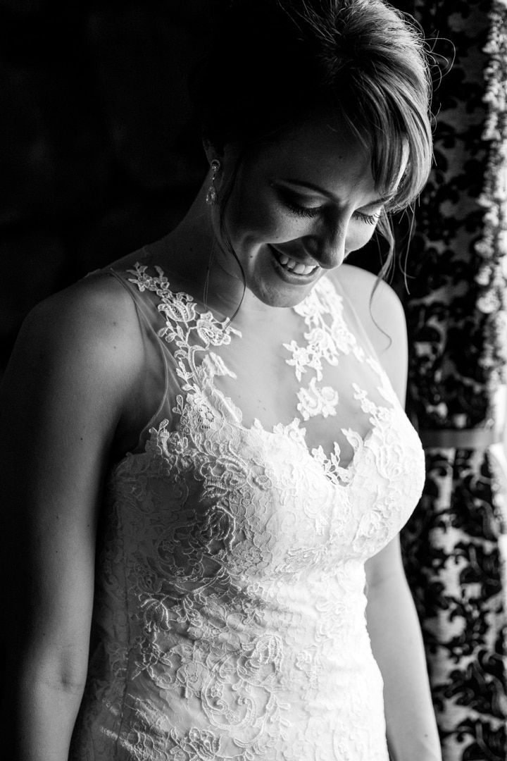 Black and White Wedding Photo of bride in a beautiful dress