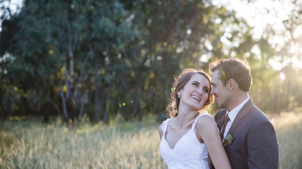 Couple on their wedding day in the Bushveldt
