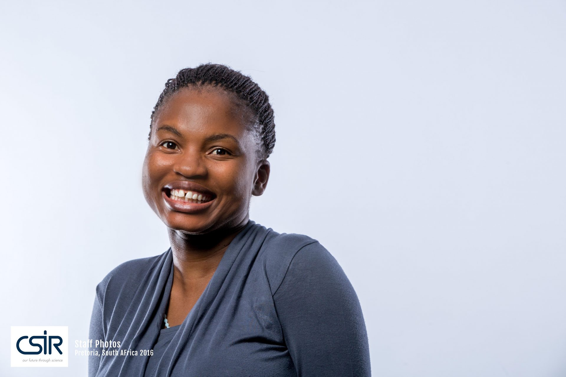 Portraits of  CSIR Staff - Black women in blue dress